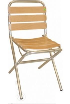 MT Alüminyum Sandalye Ahşap Latalı Portatif