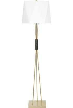 Tsd Dekorasyon Metal Ayaklı Lambader Altın Çubuk Beyaz