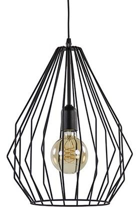 Tsd Dekorasyon Modern Tel Asılı Lamba Siyah
