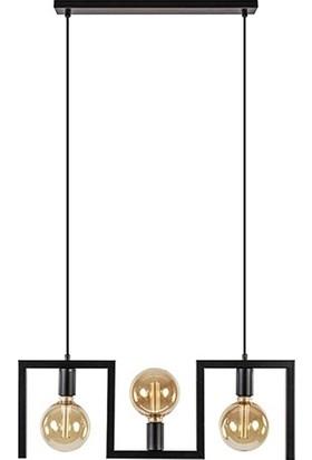 Tsd Dekorasyon Yemek Masası Lambası Siyah Çerçeve