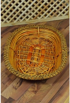 Sepetçi Baba Bambu Hasır Örgülü Sele Oval Büyük