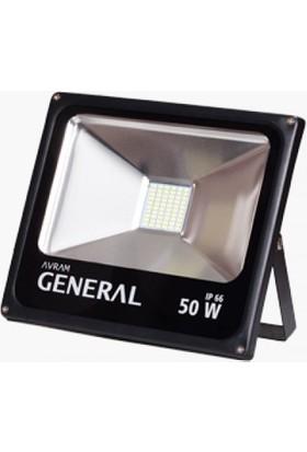Avram General Projektör 50W Smd LED Siyah Kasa Beyaz Işık