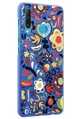 Huawei P30 Lite Colorful Arka Kapak - Çiçekli Mavi
