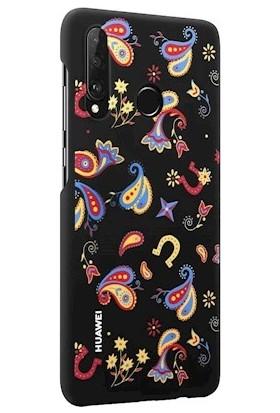 Huawei P30 Lite Colorful Arka Kapak - Çiçekli Siyah