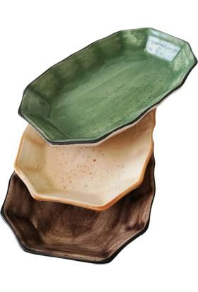 Evanilife 1 Adet Köşeli Model Yeşil Renk Dikdörtgen Kayık Tabak