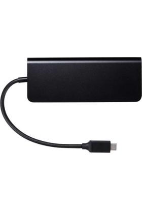Daytona Type-C To HDMI + RJ45 + USB 3.0 x 2 + Sd + Tf + Usb-C + Audıo 8 In 1 Çevirici Adaptör