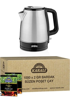 Karali Premium Bardak Poşet Siyah Çay 1000 x 2 gr + Sinbo SK-7353 Su Isıtıcı