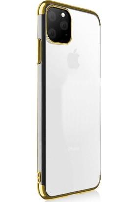 Happyshop Apple iPhone 11 Kılıf 4 Köşe Renkli Şeffaf Laser Silikon + Nano Cam Ekran Koruyucu Gold