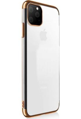 Happyshop Apple iPhone 11 Kılıf 4 Köşe Renkli Şeffaf Laser Silikon + Nano Cam Ekran Koruyucu Rose Gold