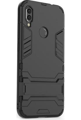 Microcase Xiaomi Redmi Note 7 - Note 7 Pro Alfa Serisi Armor Standlı Perfect Koruma Kılıf - Siyah