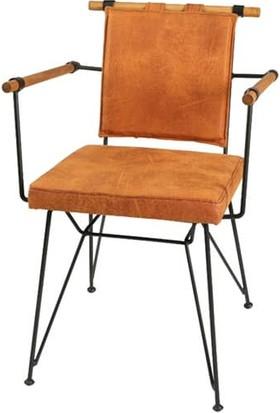 Yakos Mobilya Metal Ahşap Sandalye Turuncu