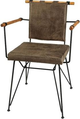 Yakos Mobilya Metal Ahşap Sandalye Koyu Kahve