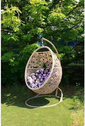 Euro Garden Rattan Askılı Bahçe Balkon Salıncağı Provence (Bej)