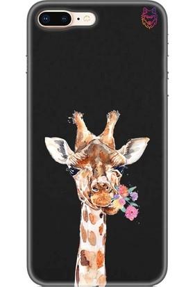 Wolf Dizayn Apple iPhone 8 Plus Silikon Kılıf Zürafa Siyah