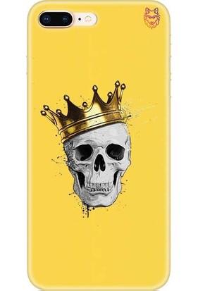 Wolf Dizayn Apple iPhone 8 Plus Silikon Kılıf Skull King Sarı