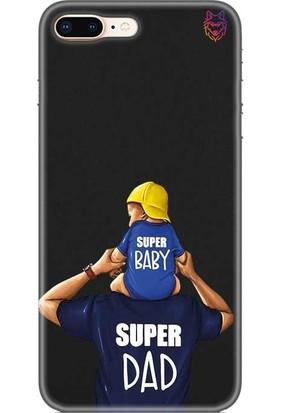 Wolf Dizayn Apple iPhone 8 Plus Silikon Kılıf Dad And Baby Siyah