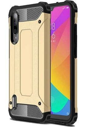 Teleplus Xiaomi Mi A3 Kılıf Çift Katmanlı Tank Kapak Gold