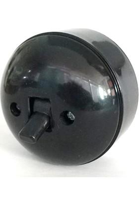 Marketcik Sıva Üstü Klasik Anahtar Priz Siyah Renk Tekli Anahtar Priz