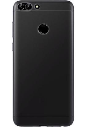 Kılıfist Huawei P Smart Kılıf Şeffaf Silikon Kılıf + Esnek Nano Cam Gri