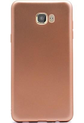 Kılıfist Samsung Galaxy C9 Pro Premier Kılıf Mat Silikon Kılıf Slim Fit Simple Case + Koruyucu Cam Altın