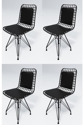 Kenz Life Knsz Kafes Tel Sandalyesi 4'lü Mazlum Syhsyh Sırt Minderli Ofis Cafe Bahçe Mutfak