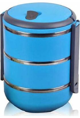 İkra Sefer Tası Yemek Termosu Saklama Kabı Termosu 3lü - Mavi