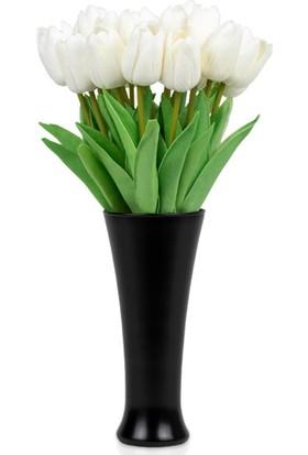 Çiçekmisin Siyah Fransız Style Saksı Vazoda 20'li Beyaz Islak Lale