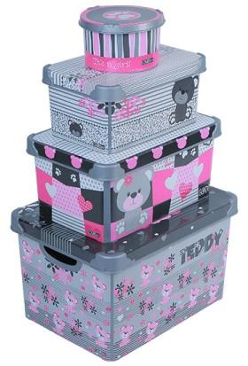 Qutu Style Box Teddy Girls Set - 4 Parça Dekoratif Saklama Kutusu