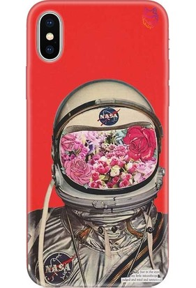 Wolf Dizayn Apple iPhone X/XS Silikon Kılıf - Flowering Astronaut Kırmızı