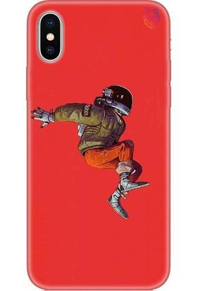 Wolf Dizayn Apple iPhone X/XS Silikon Kılıf - Flying Astronaut Kırmızı