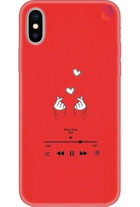 Wolf Dizayn Apple iPhone X/XS Silikon Kılıf - Music BTS Kırmızı