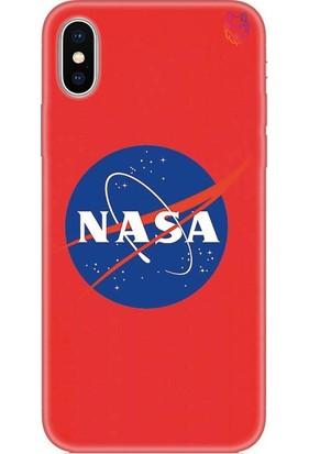 Wolf Dizayn Apple iPhone X/XS Silikon Kılıf - Nasa Kırmızı