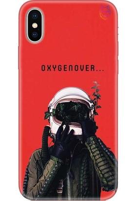 Wolf Dizayn Apple iPhone X/XS Silikon Kılıf - Oxygen Over Kırmızı