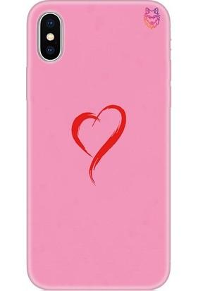 Wolf Dizayn Apple iPhone X/XS Silikon Kılıf - Red Heart Pembe