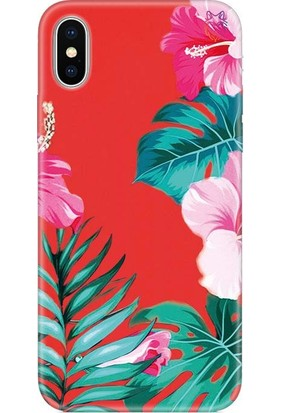 Wolf Dizayn Apple iPhone X/XS Silikon Kılıf - Tropical Flowers Kırmızı