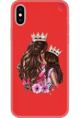 Wolf Dizayn Apple iPhone X/XS Silikon Kılıf - Mom And Daughter Kırmızı