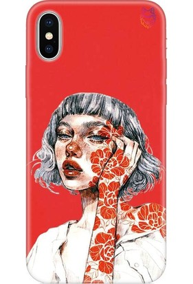 Wolf Dizayn Apple iPhone X/XS Silikon Kılıf - Orange Flower Girl Kırmızı