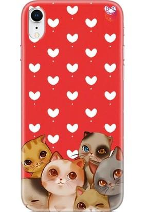 Wolf Dizayn Apple iPhone XR Silikon Kılıf - Cats Kırmızı
