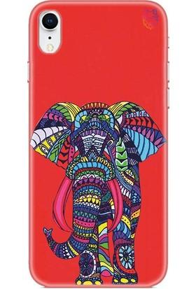 Wolf Dizayn Apple iPhone XR Silikon Kılıf - Colorful Elephant Kırmızı