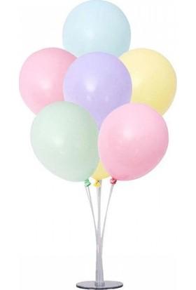 Cakes & Party 7'li Balon Standı ve 10 Adet Makaron Karışık Renkli Balon