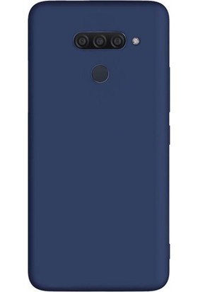 Tbkcase LG Q60 Kılıf Lüks Mat Silikon Lacivert + Tam Kapatan Nano Ekran Koruyucu