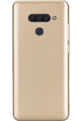 Tbkcase LG Q60 Kılıf Lüks Mat Silikon Gold + Tam Kapatan Nano Ekran Koruyucu