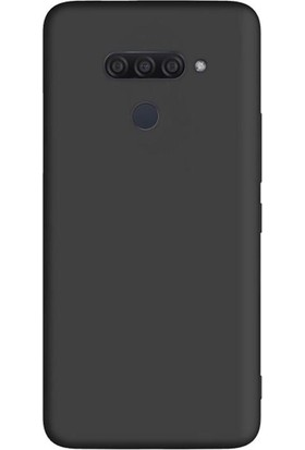 Tbkcase LG Q60 Kılıf Lüks Mat Silikon Siyah + Tam Kapatan Nano Ekran Koruyucu