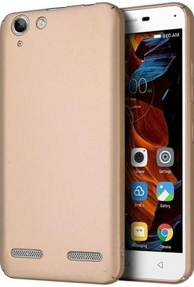 Kaltel Gsm Lenovo K5 Mat Premier Silikon Kılıf + Cam Ekran Koruyucu - Gold