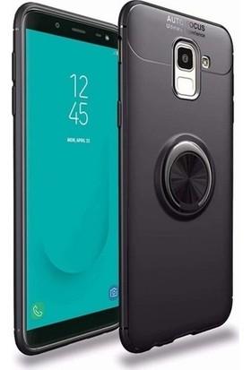 Kaltel Gsm Samsung Galaxy J6 Ultra Korumalı Yüzüklü Standlı Ravel Silikon Kılıf - Siyah
