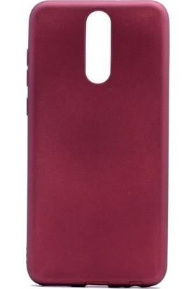 Tbkcase Meizu Note 8 Kılıf Lüks Silikon + Nano Ekran Koruyucu Bordo