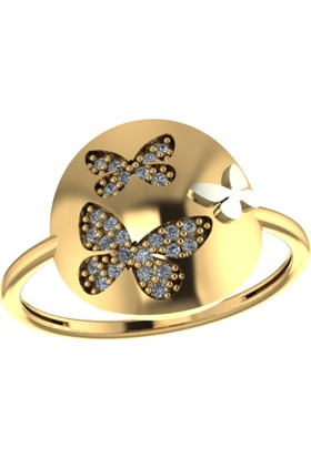 Kodd Gümüş Yüzük Buterfly Desenli Taşlı