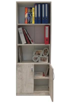 Yakos Mobilya 2 Kapaklı 5 Raflı Kitaplık Antik Beyaz