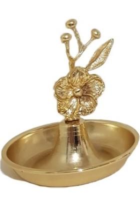 Arg Kristal Çiçek Desenli Gold Renk Lokumluk Şekerlik