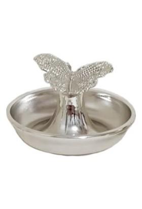 Arg Kristal Kelebek Desenli Gümüş Renk Lokumluk Şekerlik